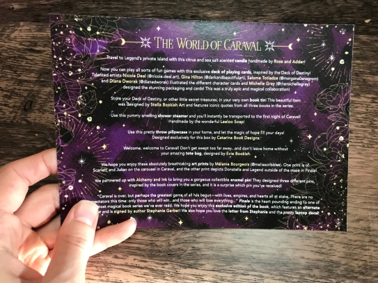 Owlcrate World of Caraval Spoiler Card